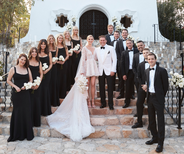 Mrs and Mrs Stefanovic with their bridal party! *(Source: Supplied)*
