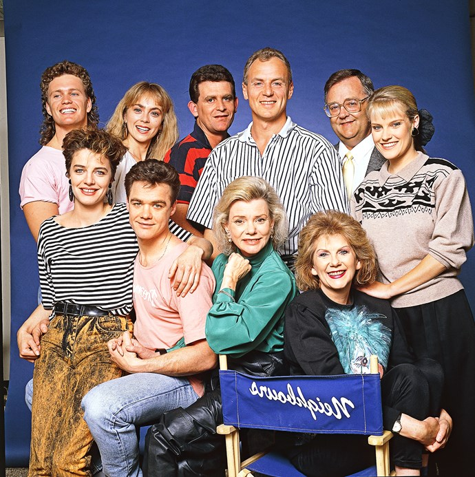 Flashback to 1988: Alan (centre) with the *Neighbours* cast.
