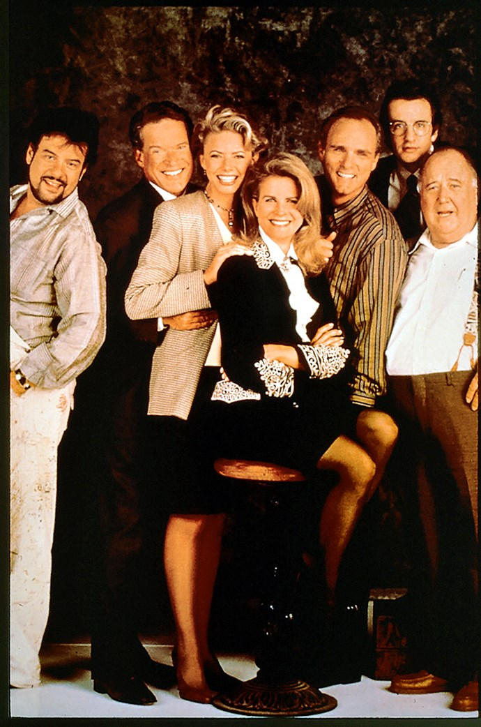 Faith and the original *Murphy Brown* cast.