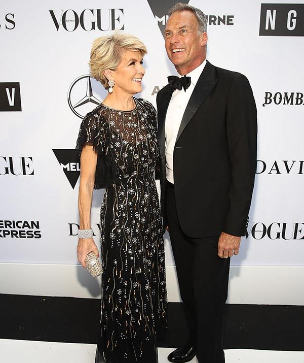 Julie Bishop and David Panlan were guests at Karl and Jasmine's wedding. *(Image: Getty)*
