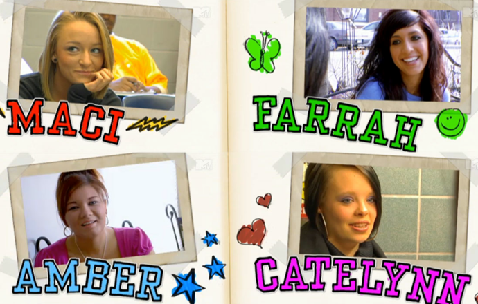 Maci, Farrah, Amber and Catelynn from the first season of *Teen Mom* US.