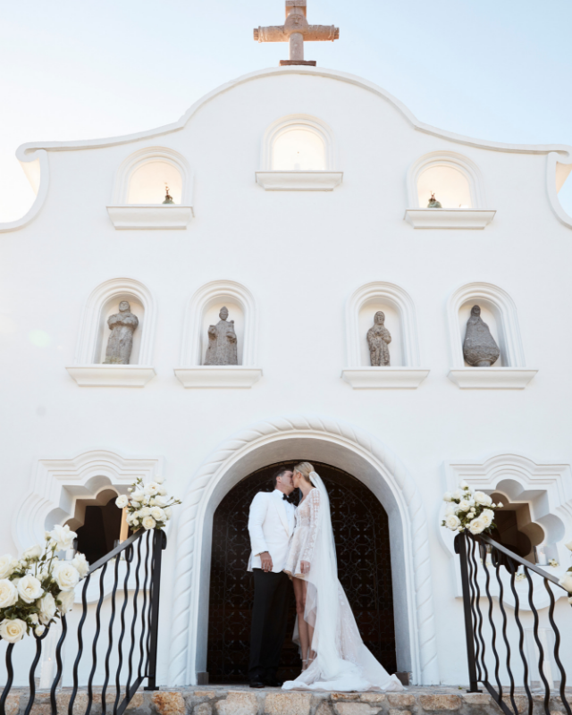 Karl and Jasmine kiss at the One&Only chapel in Cabo, Mexico. *(Source: Supplied)*