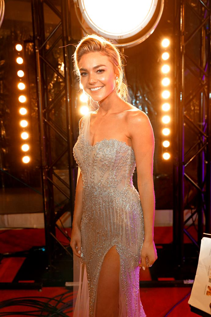 "**SAM FROST: BECOMING AT HOME IN SUMMER BAY** <br><br> When Australia's original Bachelorette Sam swapped reality TV for a turn at acting, she had every right to feel the pressure and knew her first steps on the sandy beaches of *Home And Away*'s [Summer Bay](https://www.nowtolove.com.au/celebrity/tv/home-and-away-robbo-jasmine-proposal-52967|target=""_blank"") would be pored over. <br><br> The 29-year-old took to acting like a duck to water and has been involved in some of the show's biggest storylines. Her 2018 **TV WEEK Logie** nomination for the Graham Kennedy Award For Most Popular New Talent is testament to the impact she's had.  <br><br> ""I can understand why people would say, 'Hang on, isn't that the chick from The Bachelorette, and now she's in *Home And Away*?'"" Sam told ***TV WEEK*** of her Logie nod.  <br><br> ""But people don't see the months of gruelling hard work I did in the lead-up to it."""