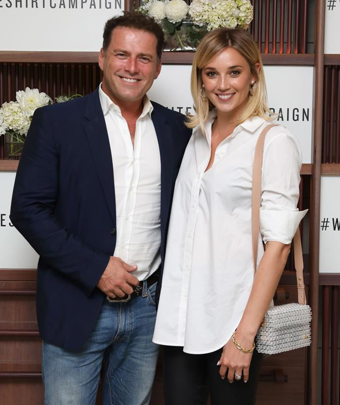 Karl Stefanovic and Jasmine Yarbrough at the Witchery x OCRF White Shirt Campaign Launch in April. *(image: Getty)*