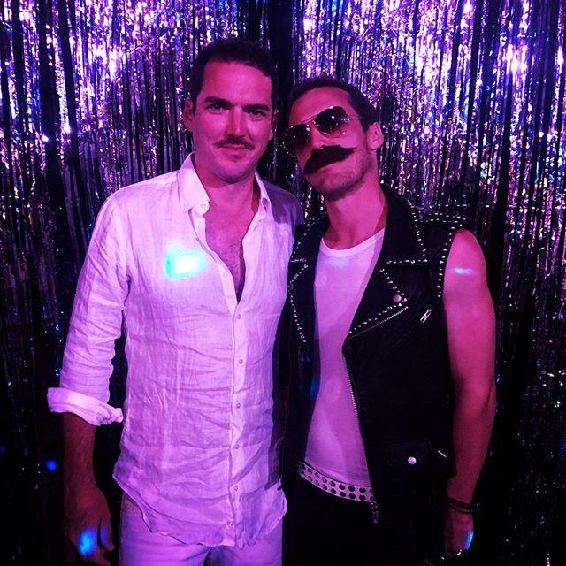 Peter and Tom Stefanovic looked every bit the part for the lavish party. *(Image: Instagram / @sylviajefferys)*