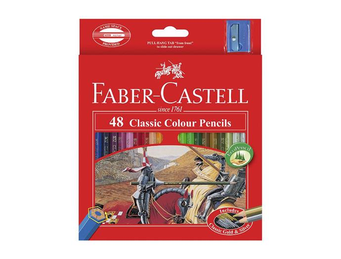 """[Faber-Castell colour pencil pack](https://www.officeworks.com.au/shop/officeworks/p/faber-castell-classic-coloured-pencils-48-pack-fa16115858