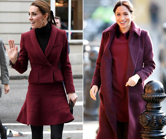 If you weren't yet convinced the pair were taking style cues off each other, then this is your proof. Both Duchesses stepped out in these berry red ensembles on the *same day* in November 2018 - coincidence? We think not!  <br><br> Meghan's dress and coat was designed by Club Monaco, while Kate's skirt suit was by label Paule Ka. *(Images: Getty)*