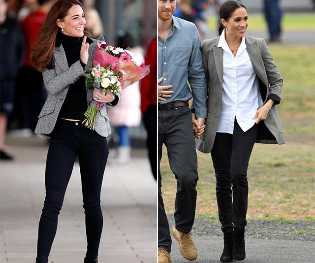 "Like clockwork, both Duchesses again stepped out in these similar grey blazer and black pant ensembles in the same month. <br><br> Meghan wore her variation of the blazer (designed by none other than her long-time pal Serena Williams) during [a visit to Dubbo in October 2018](https://www.nowtolove.com.au/royals/british-royal-family/duchess-meghan-dubbo-51894|target=""_blank""). Little more than a week later, Kate stepped out in London in a very similar chic tweed blazer by Smythe. *(Images: Getty)*"