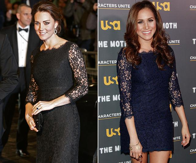 In a true instance of 'who wore it better?' Meghan and Kate's lace dresses are in fact the *exact* same style! <br><br> Designed by the revered Diane von Furstenberg, Meghan wore the navy version of the dress back in 2012 for Hollywood red carpet event, while Kate's darker and slightly longer version was worn for the 2014 Royal Variety Performance. *(Images: Getty)*