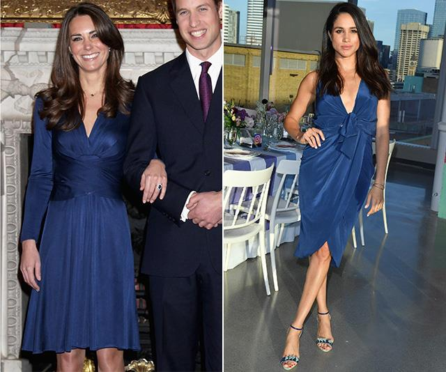 Kate's engagement photos with Prince William were enough alone to get people talking back in 2010, but her navy blue Issa wrap dress was also a major talking point, and coveted by fans the world over.  <br><br> In light of this, we can't *really* blame Meghan for wearing a very similar design in 2016 for a dinner in Toronto - so chic! *(Images: Getty)*