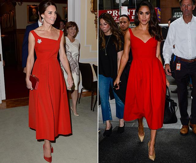 "Ladies in red! Kate's stunning Preen frock (which she has since [recycled in November this year](https://www.nowtolove.com.au/royals/british-royal-family/kate-meghan-william-harry-secret-party-52558|target=""_blank"") was first worn by the Duchess in November 2016, but it was only a few months before that Meghan stepped out in a very similar gown for an appearance on the *Today Show* in July 2016. *(Images: Getty)*"