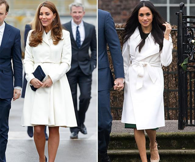 "And it appears royal-engagement-shoot-fashion is eternal. Kate's Max Mara Studio coat worn during a visit to Portsmouth in 2015 looks strikingly similar to the Line The Label coat worn by [Meghan for her official engagement photos with Prince Harry in 2017.](https://www.nowtolove.com.au/royals/british-royal-family/prince-harry-and-meghan-markle-engagement-photo-shoot-43140 |target=""_blank"") *(Images: Getty)*"