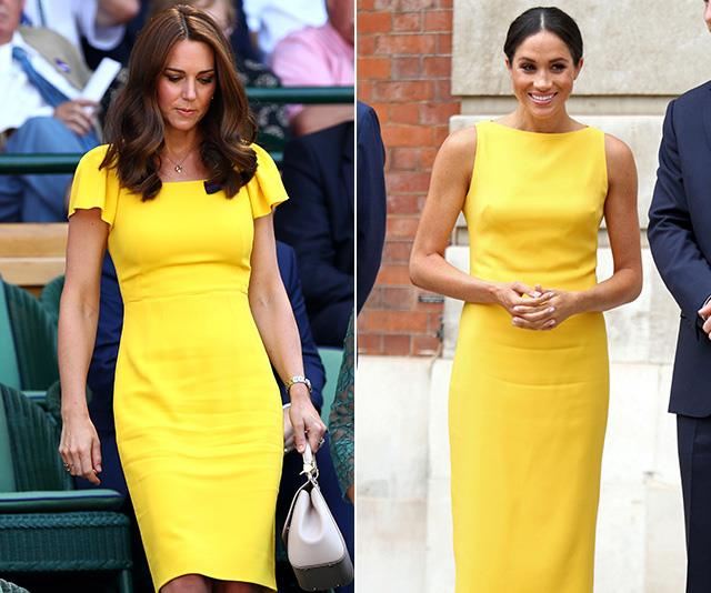 The UK mightn't be well known for its ample sunshine, but both Duchesses are bringing enough of it on their own in these very similar bright yellow frocks.  <br><br> Duchess Meghan turned heads when she stepped out at Marlborough House in July 2018 in her bold-hued dress by Brandon Maxwell. Then, barely a week later, Duchess Catherine stood out from the crowd at Wimbledon in her almost-matching design by Dolce & Gabbana. *(Images: Getty)*