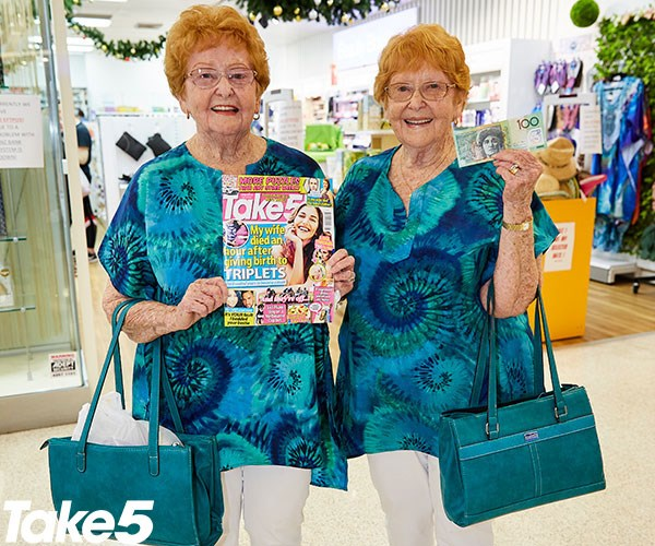 "**Mabel Suddick and Evelyn Cracknell, 83, from Woonona** <br><br> Take 5 was our sister's favourite magazine.  <br><br> She bought it every week and did the crosswords.  <br><br> Sadly, she passed away this year. [We twinnies dress in the same outfits every day.](https://www.nowtolove.com.au/news/real-life/perth-twins-anna-and-lucy-plastic-surgery-30845|target=""_blank"")  <br><br> We've both lost our husbands now but they both thought it was great.  <br><br> Men often stop us when we're shopping to say how much they love our identical outfits.  <br><br> I think we'll use this generous gift to go shopping for a Christmas outfit."