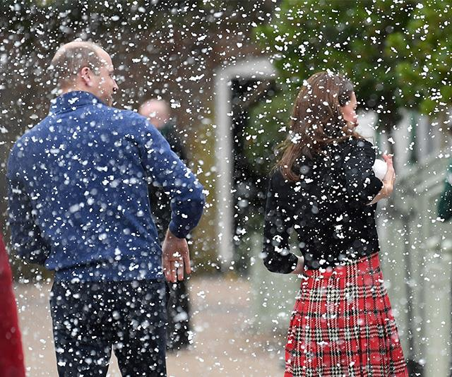 "The couple were surprised by a sprinkling of snowflakes from a machine as they walked in to the party. The event was held as a show of solidarity and [support for deployed personnel](https://www.nowtolove.com.au/travel/travel-news/prince-william-kate-middleton-cyprus-52906|target=""_blank"") and to acknowledge those currently serving who will be away from their families at this time of year. *(Image: Getty)*"