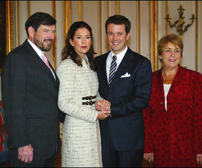 Princess Mary with her husband Frederick, her father John and his new partner Susan. *(Source: Getty Images)*