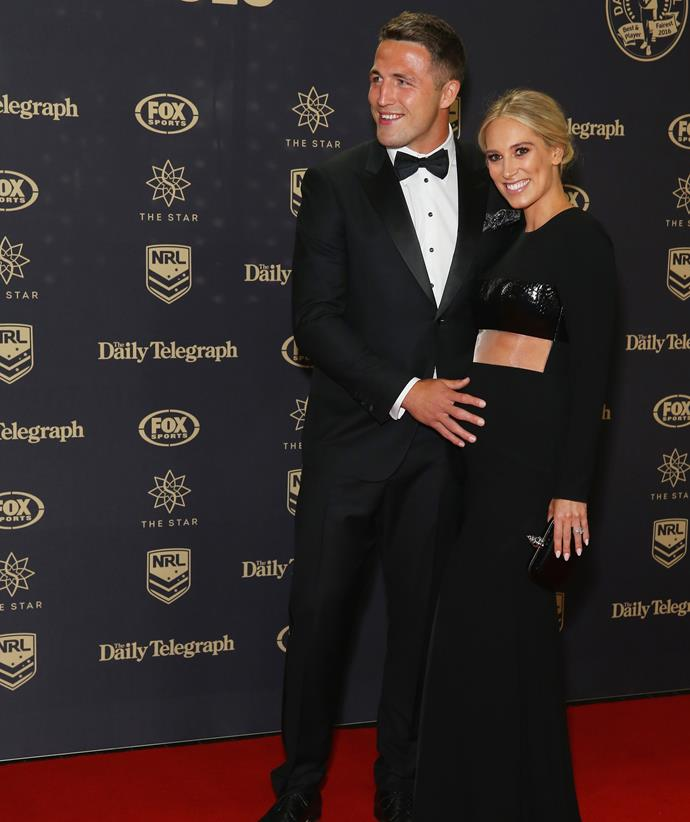 Sam and Phoebe Burgess at the 2017 Dally M Awards. *(Image: Getty)*