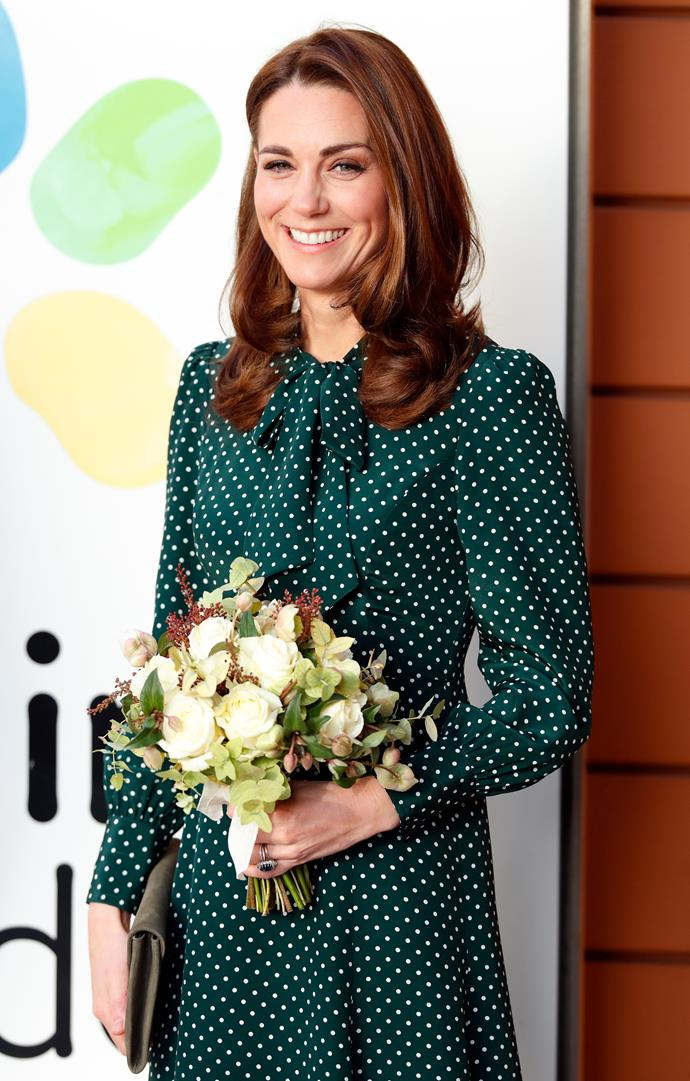 Kate brought festive cheer during a visit to a children's hospital on Tuesday. *(Image: Getty)*