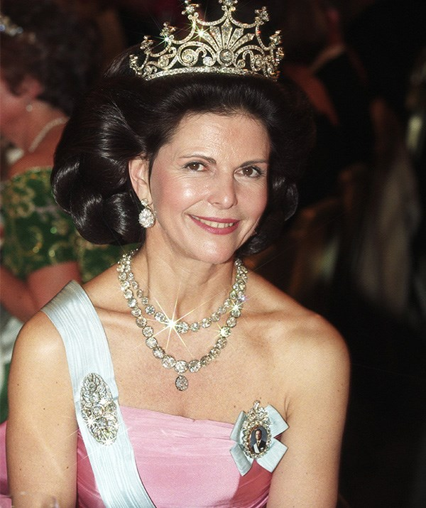 Queen Silvia's tiara was curated in 1860 and is also known as the 'Nine-Prong Tiara'. *(Image: Rex)*