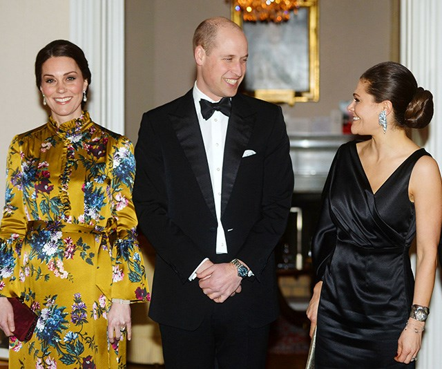 Kate and William shared a glitzy dinner with Princess Victoria in January 2018. *(Image: Getty)*