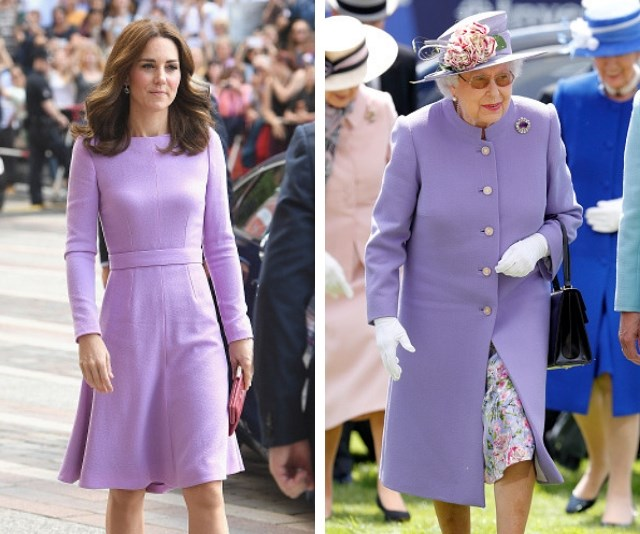 Purple people pleasers - Duchess Catherine and Her Majesty don matching purple ensembles. *(Source: Getty Images)*