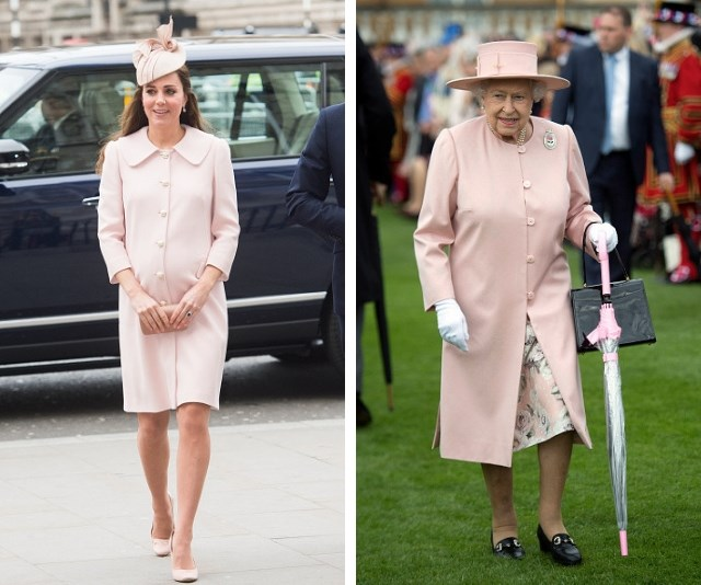 The softest of pink's for both royals, donning matching jackets. *(Source: Getty Images)*