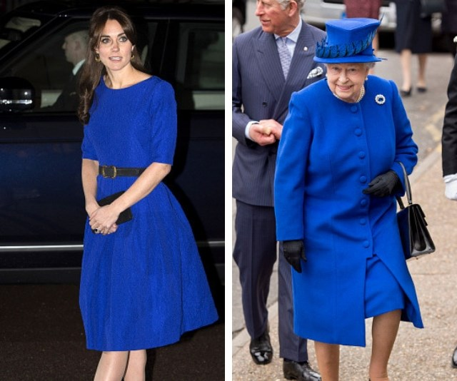 Black and Blue or blue and black? Duchess Catherine and the Queen share their love of the bold colour! *(Source: Getty Images)*
