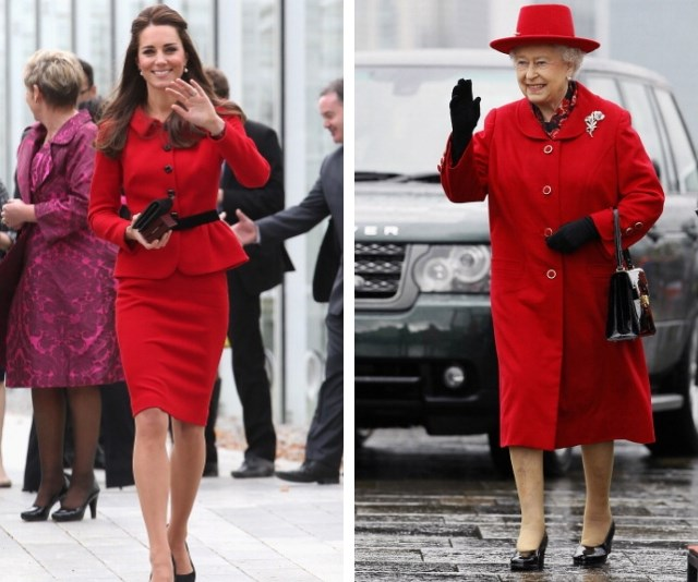 Duchess Catherine has perfected the Queen's wave, and pairing red with black! *(Source: Getty Images)*