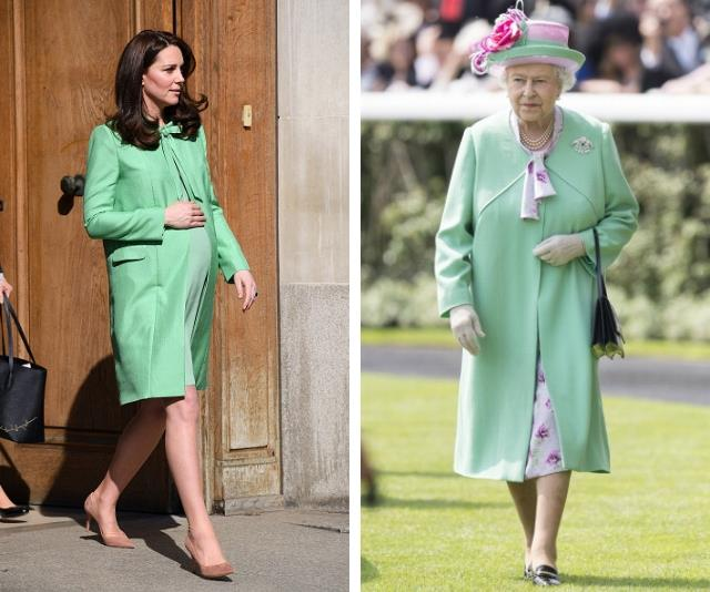 Here, Duchess Catherine was heavily pregnant with Prince Louis and the Queen, was out for the day at the Polo! But both in the same striking mint! *(Source: Getty Images)*