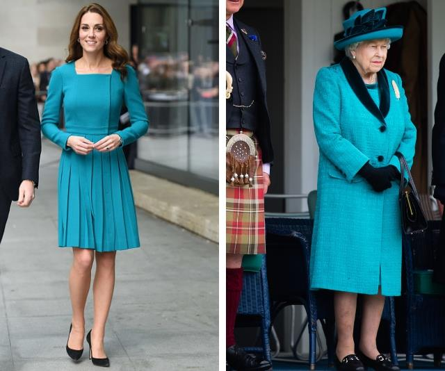 It's almost as though they have the same stylist... Duchess Catherine steps out in teal, the perfect match to her Grandmother-in-law's ensemble! *(Source: Getty)*