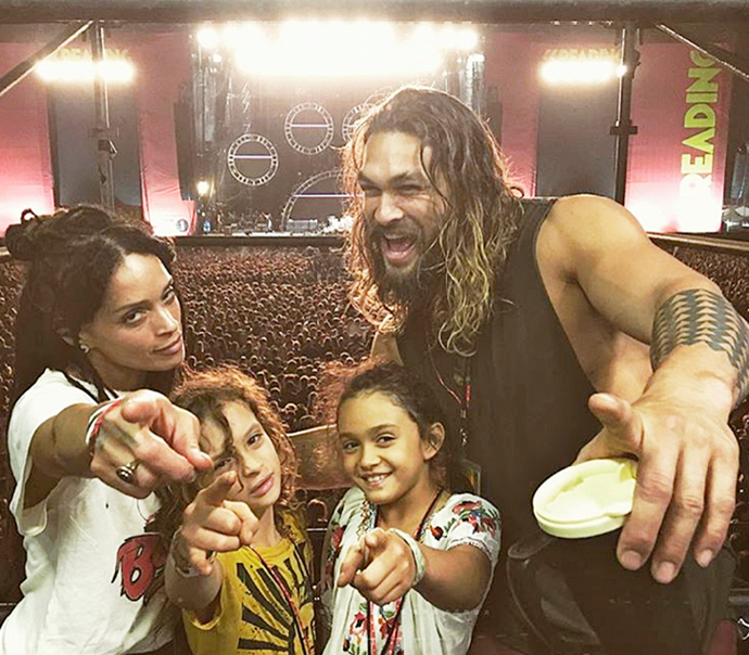 Jason with his wife, Lisa Bonet, and their children Nakoa-Wolf and Lola.
