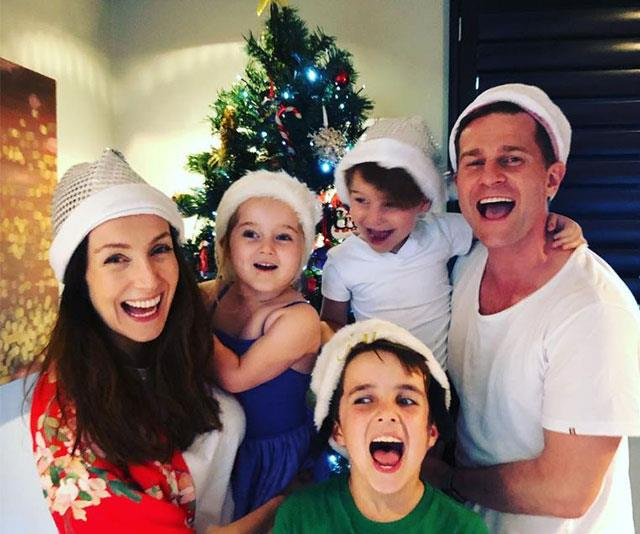 Channel Nine star David Campbell with his beautiful brood in front of their Christmas tree.