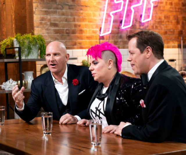 Matt Moran, Anna Polyviou and Tom Parker-Bowles had the difficult task of choosing last night's champions. *Image: Supplied Nine Network.*