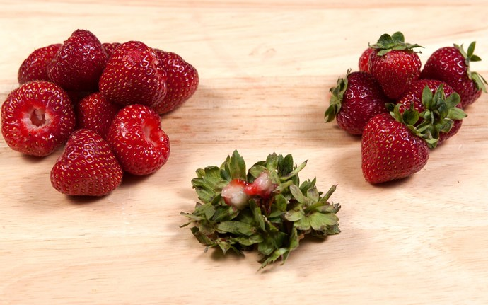 **Quick hull** <br><br> Push a straw through the bottom of a strawberry to quickly remove the leaves and stem. *(Image: Getty)*