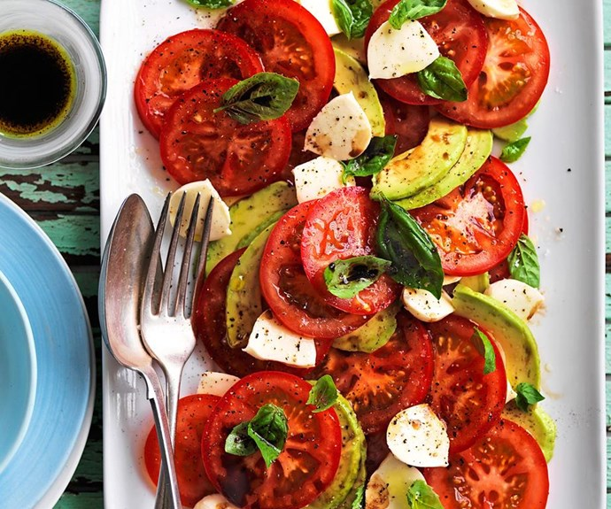 """Avocado caprese salad <br><br> Vine-ripened truss tomatoes are perfect for a simple recipe like this for their brilliant colour, robust flavour and crisp, tangy flesh to stand out at their best. This salad is perfect for lunch or as a side at dinner. <br><br> See the full *Australian Women's Weekly* recipe [here](https://www.womensweeklyfood.com.au/recipes/avocado-caprese-salad-1-29217