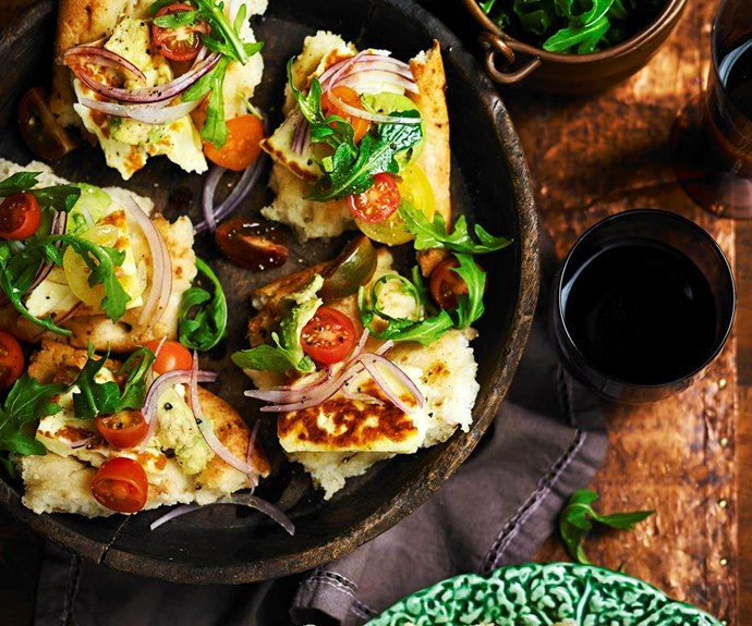 """**Haloumi and avocado bruschetta** <br><br> Excite your taste buds with this fresh and delicious haloumi and avocado bruschetta. It makes a brilliant snack, light lunch or dinner or starter to a dinner spread. <br><br> See the full *Australian Women's Weekly* recipe [here](https://www.womensweeklyfood.com.au/recipes/haloumi-and-avocado-bruschetta-28734