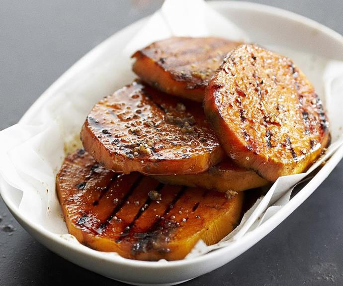 "**Barbecued kumara slices** <br><br> Sweet potato is such a delicious vegetables and these little slices make a great side dish that's super filling. <br><br> See the full *Australian Women's Weekly* recipe [here](https://www.womensweeklyfood.com.au/recipes/barbecued-kumara-slices-|target=""_blank""