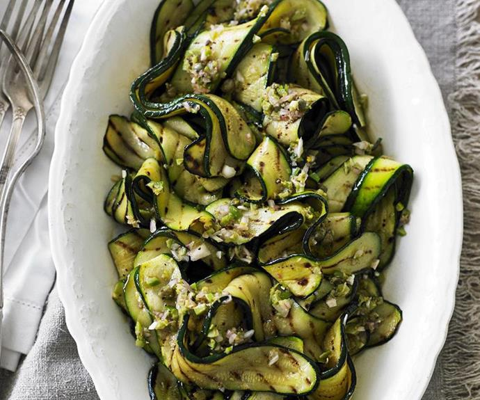 "**Char-grilled zucchini salad** <br><br> Zucchini is an under-rated vegetable, but with a little love on the barbecue it can turn into the star of the Christmas table.  <br><br> See the full *Australian Women's Weekly* recipe [here](https://www.womensweeklyfood.com.au/recipes/char-grilled-zucchini-salad-12489|target=""_blank""