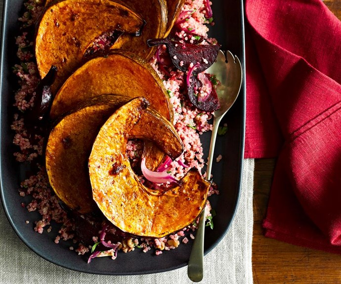 """Balsamic-roasted pumpkin with beetroot quinoa <br><br> This is a delicious, hearty main that will hold its own on alongside the ham and turkey for the vegetarians on Christmas Day. <br><br> See the full *Australian Women's Weekly* recipe [here](https://www.womensweeklyfood.com.au/recipes/balsamic-roasted-pumpkin-with-beetroot-quinoa-22995