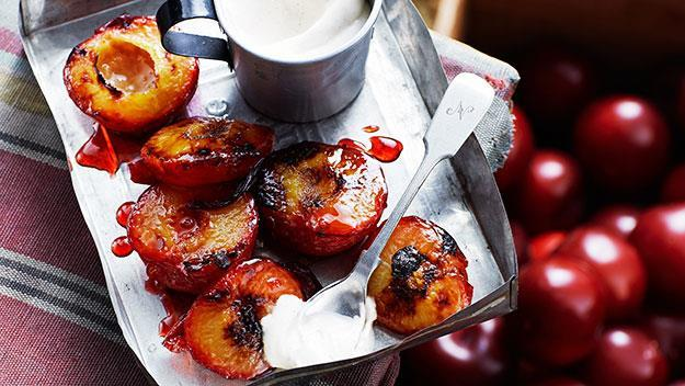 "**Grilled plums with cinnamon cream** <br><br> Don't want to indulge in rich desserts like pudding or pavlova? This is a healthy alternative that is still packed with flavour - and that cinnamon cream is to DIE for!  <br><br> See the full *Australian Women's Weekly* recipe [here](https://www.womensweeklyfood.com.au/recipes/grilled-plums-with-cinnamon-cream-24995|target=""_blank""