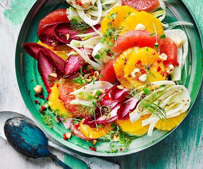 """**Orange, fennel and hazelnut salad** <br><br> This refreshing citrus and hazelnut salad is packed full of flavour and textures that'll complement any dinner spread perfectly. <br><br> See the full *Australian Women's Weekly* recipe [here](https://www.womensweeklyfood.com.au/recipes/orange-fennel-and-hazelnut-salad-1796