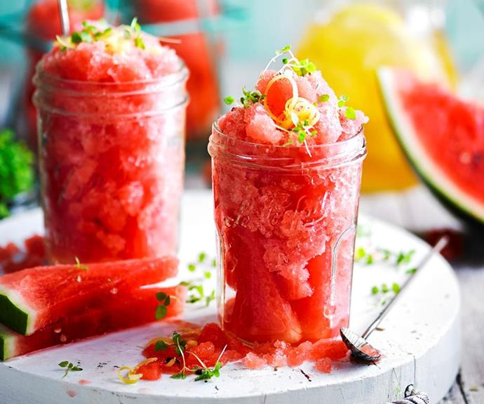 "**Watermelon and lemon tea granita** <br><br> While traditional granitas and sorbets are packed full of sugar, this refreshing melon and citrus recipe is sweetened naturally with stevia for a healthy, cooling dessert. <br><br> See the full *Australian Women's Weekly* recipe [here](https://www.womensweeklyfood.com.au/recipes/watermelon-and-lemon-tea-granita-1799|target=""_blank""
