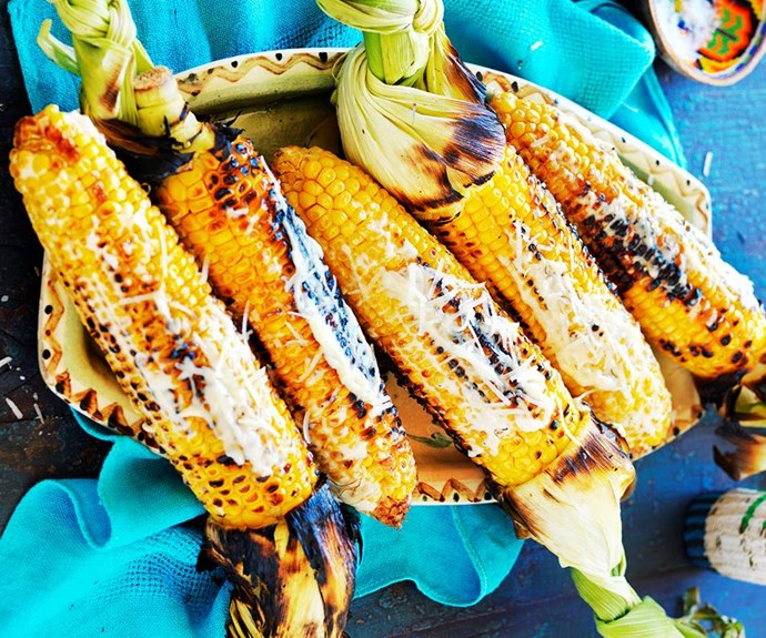 """**Mexican-style grilled corn** <br><br> Warm, buttery grilled corn is brilliant topped with creamy mayonnaise and shaved pecorino cheese in this Mexican style recipe. Serve as a side with grilled meat and fresh salads. <br><br> See the full *Australian Women's Weekly* recipe [here](https://www.womensweeklyfood.com.au/recipes/mexican-spiced-grilled-corn-1653