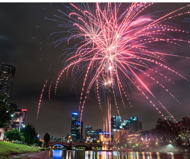 **Docklands (use Southern Cross Station):** Expect a big crowd here as Docklands surrounds the harbour and offers great views of the night sky. *Image: Melbourne fireworks Getty Images.*