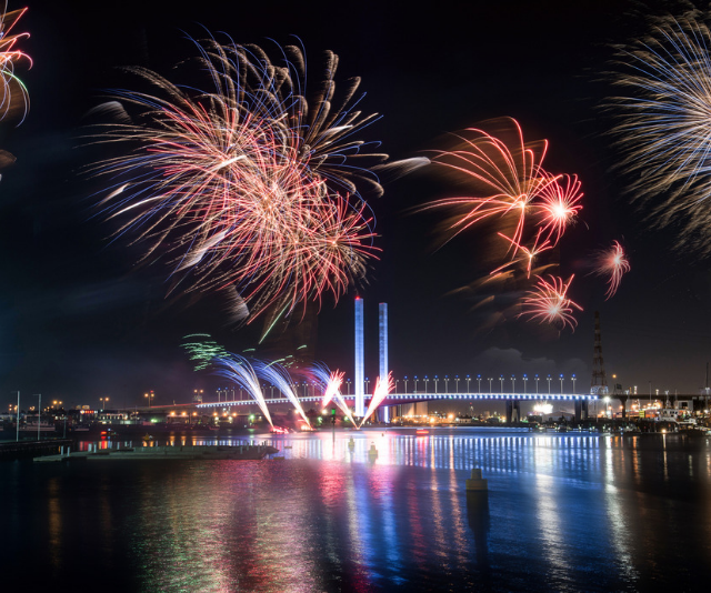 **Flagstaff Gardens (use Flagstaff Station):** A popular spot for families to setup for the night, expect crowds and a great view. *Image: Melbourne fireworks Getty Images.*
