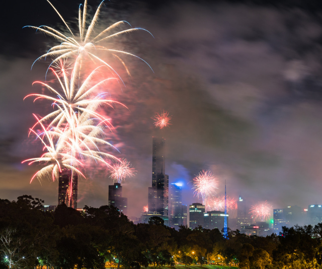 **Footscray Park (use Footscray Station):** With free entertainment on before the fireworks spectacular, this is a great family-friendly spot for a picnic and a show. *Image: Melbourne fireworks Getty Images.*