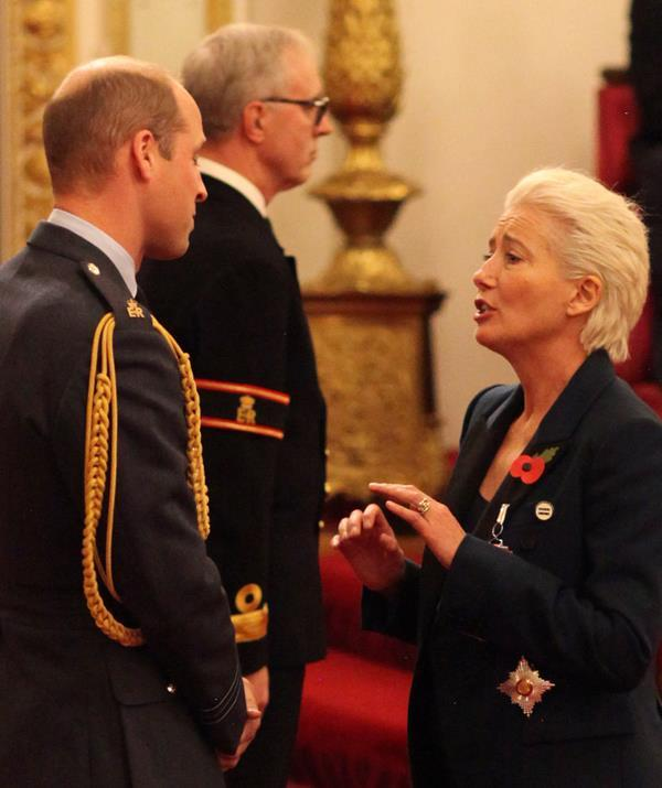 Emma Thompson tested royal protocol herself by asking a very cheeky request of Prince William. *(Image: Getty)*
