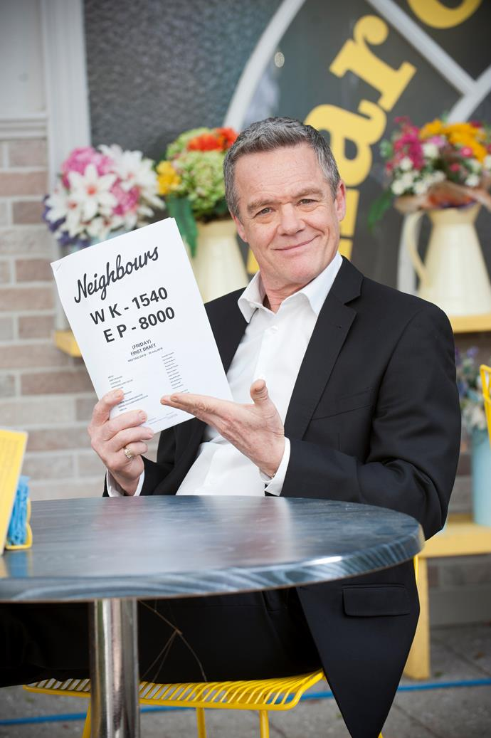 Stefan celebrates 34 years on *Neighbours*.