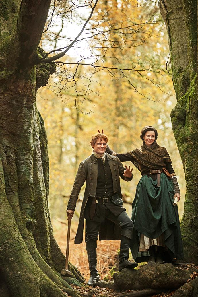Goofing around on set, Sam and Caitriona have become great friends.