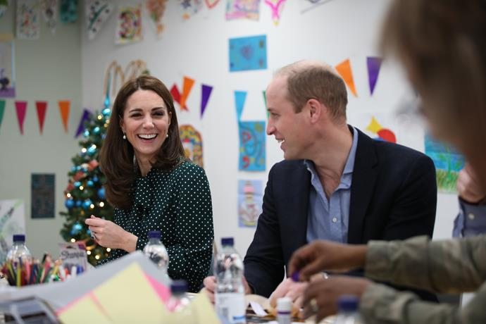 While Meghan attended the glitzy Fashion Awards, Kate joined Prince William to visit a hospital and homeless shelter. *(Image: Getty)*